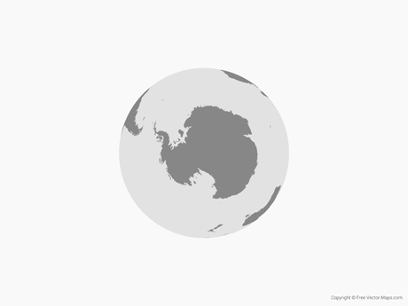 Free Vector Map of Globe of Antarctica - Single Color