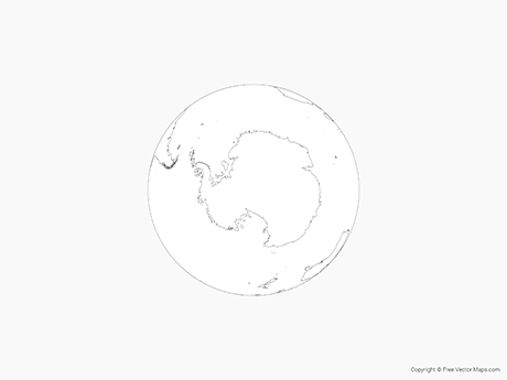 Free Vector Map of Globe of Antarctica - Outline