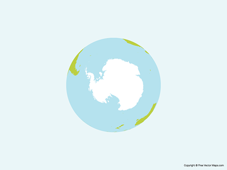 Free Vector Map of Globe of Antarctica