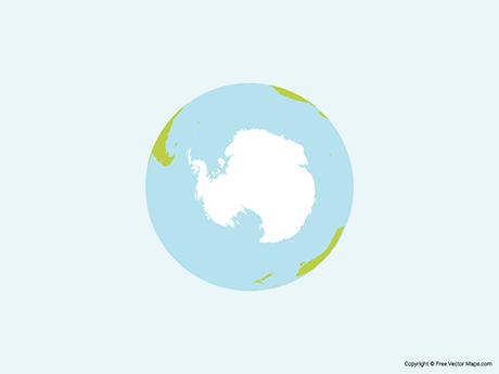 Map of Globe of Antarctica