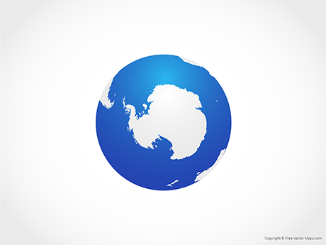 Free Vector Map of Globe of Antarctica - Blue