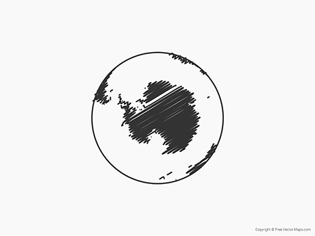 Free Vector Map of Globe of Antarctica - Sketch