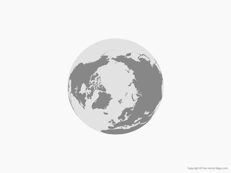 Free Vector Map of Globe of Arctic - Single Color