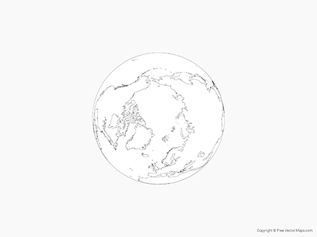 Map of Globe of Arctic - Outline