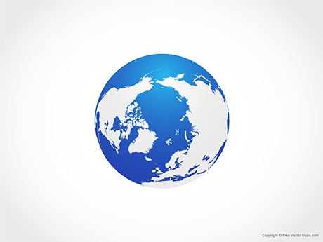 Free Vector Map of Globe of Arctic - Blue
