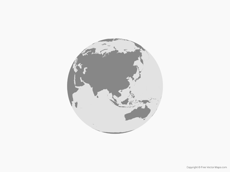 free vector map of globe of asia single color