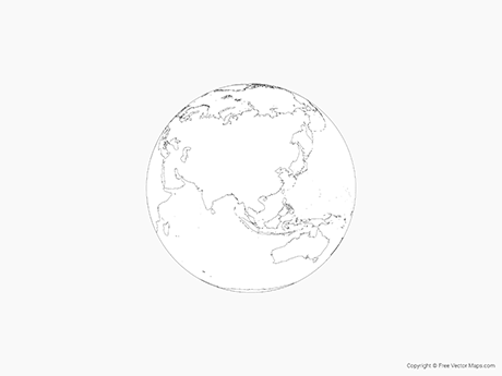 Free Vector Map of Globe of Asia - Outline