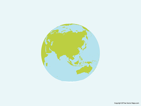 Free Vector Map of Globe of Asia