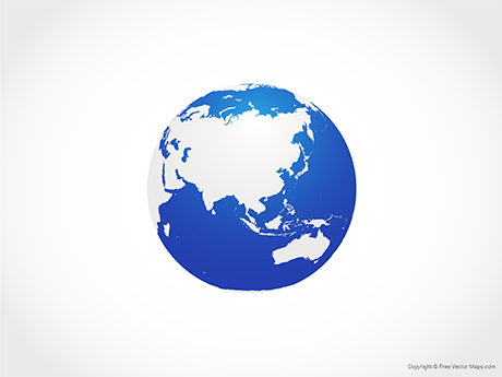 Free Vector Map of Globe of Asia - Blue