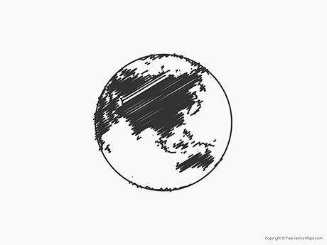 Free Vector Map of Globe of Asia - Sketch