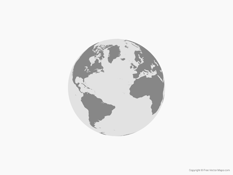 Free Vector Map of Globe of Atlantic Ocean - Single Color