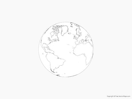 Free Vector Map of Globe of Atlantic Ocean - Outline