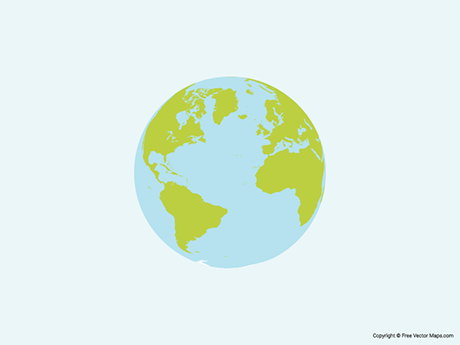 Free Vector Map of Globe of Atlantic Ocean