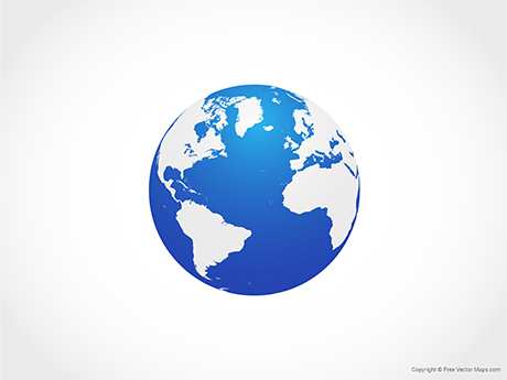 Free Vector Map of Globe of Atlantic Ocean - Blue