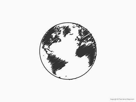 Free Vector Map of Globe of Atlantic Ocean - Sketch