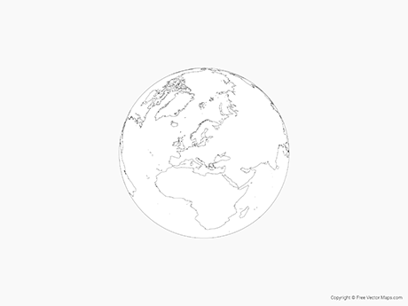 Free Vector Map of Globe of Europe - Outline