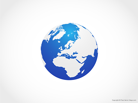Free Vector Map of Globe of Europe - Blue