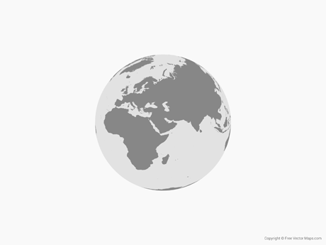 Free Vector Map of Globe of Middle East- Single Color