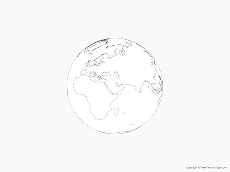 Great Free Vector Map Of Globe Of Middle East   Outline