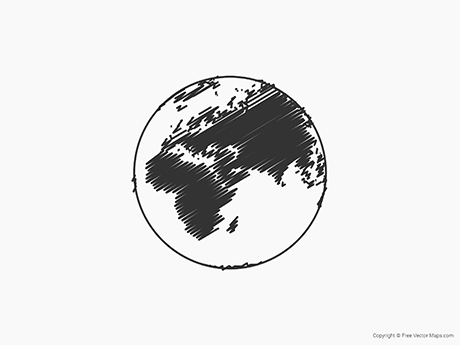 Free Vector Map of Globe of Middle East - Sketch
