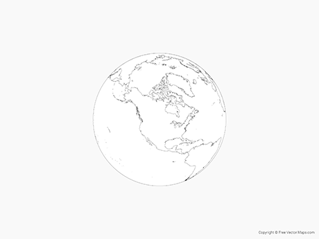 Free Vector Map of Globe of North America - Outline