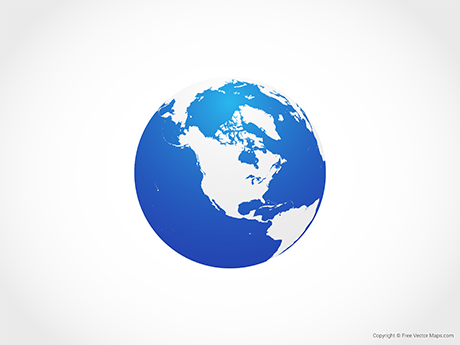 Free Vector Map of Globe of North America - Blue