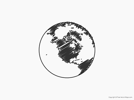 Free Vector Map of Globe of North America - Sketch