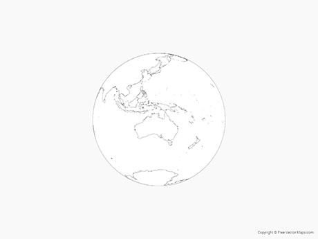 Free Vector Map of Globe of Oceania - Outline
