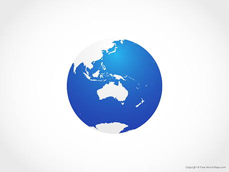 Free Vector Map of Globe of Oceania - Blue