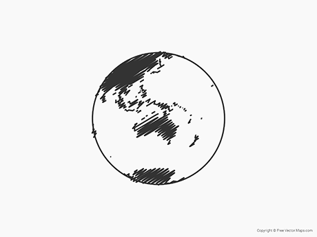 Free Vector Map of Globe of Oceania - Sketch
