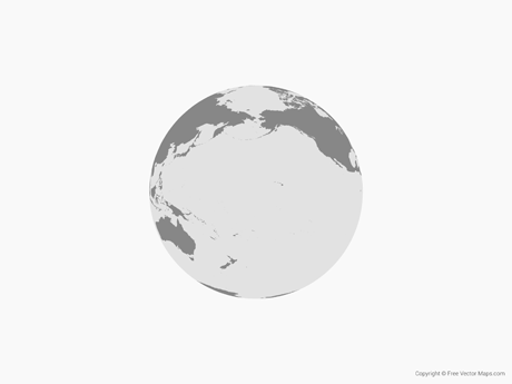 Map of Globe of Pacific Ocean - Single Color