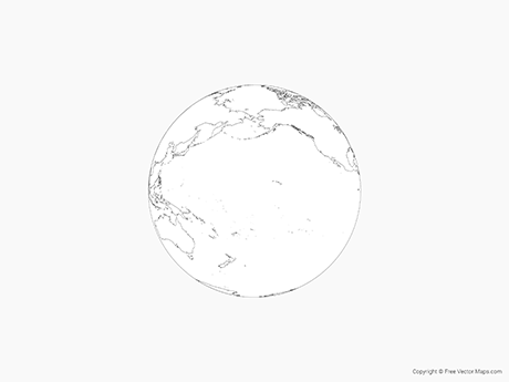 Free Vector Map of Globe of Pacific Ocean - Outline
