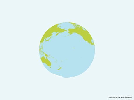 Free Vector Map of Globe of Pacific Ocean