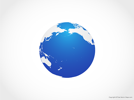 Free Vector Map of Globe of Pacific Ocean - Blue