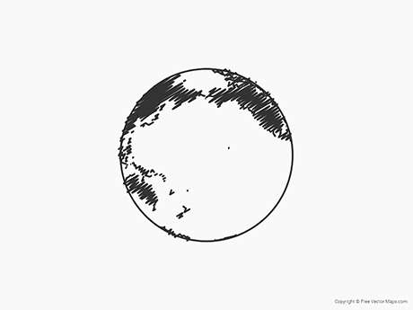Free Vector Map of Globe of Pacific Ocean - Sketch