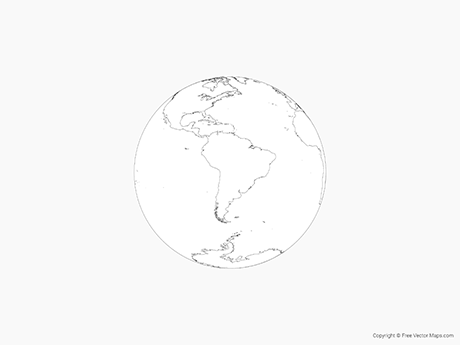 Map Of Globe Of South America   Outline