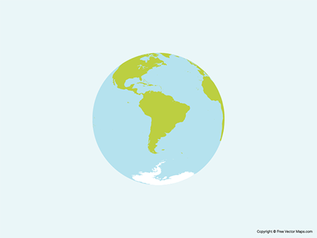 Free Vector Map of Globe of South America