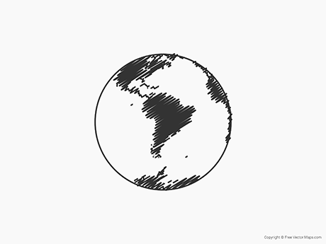 Free Vector Map of Globe of South America - Sketch