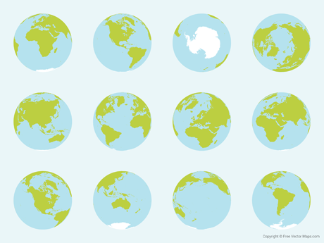 Vector Map of World Globes - Complete Set