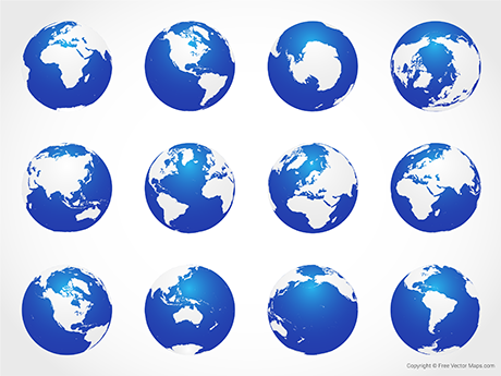 Vector Map of World Globes - Blue (Complete Set)