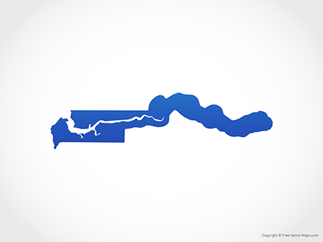 Free Vector Map of Gambia - Blue