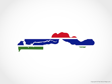 Free Vector Map of Gambia - Flag