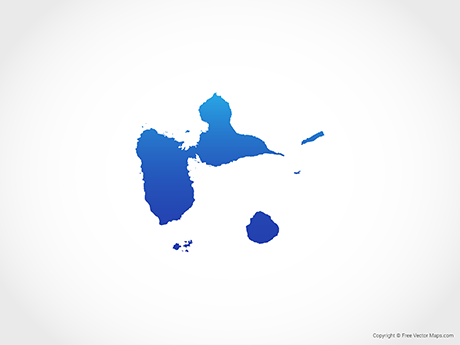 Free Vector Map of Guadeloupe - Blue