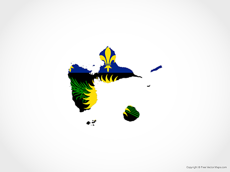 Free Vector Map of Guadeloupe - Flag