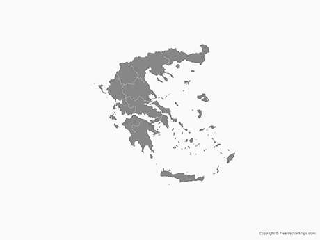 Free Vector Map of Greece with Regions - Single Color