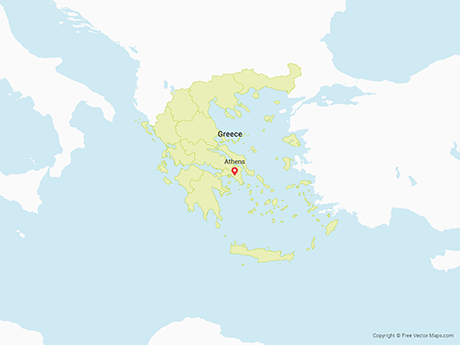 Free Vector Map of Greece with Regions