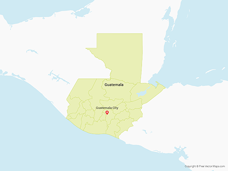 Free Vector Map of Guatemala with Departments