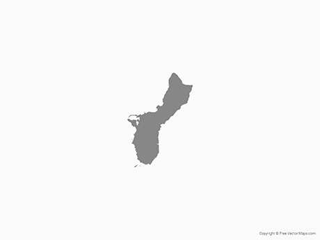 Free Vector Map of Guam - Single Color