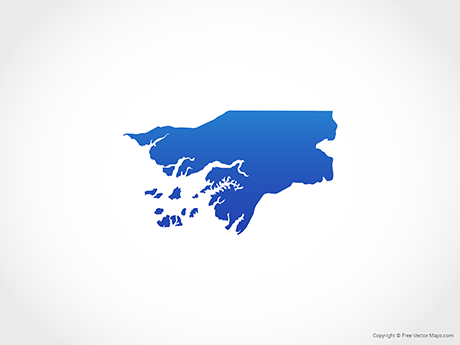 Free Vector Map of Guinea-Bissau - Blue