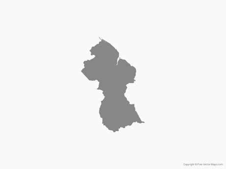 Free Vector Map of Guyana - Single Color
